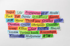 Thank You. Word Cloud printed on colorful  paper different languages Royalty Free Stock Image