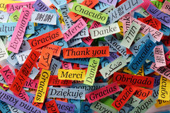 Thank You. Word Cloud printed on colorful  paper different languages Stock Images