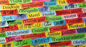 Thank You. Word Cloud printed on colorful  paper different languages Stock Photo