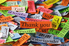 Thank You. Word Cloud printed on colorful  paper different languages Royalty Free Stock Photo