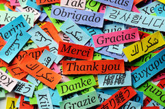 Thank You. Word Cloud printed on colorful  paper different languages Royalty Free Stock Photography