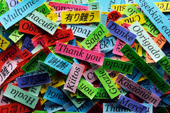 Thank You. Word Cloud printed on colorful paper different languages stock image