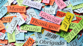 Thank You. Word Cloud printed on colorful  paper different languages