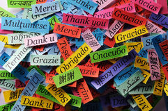 Thank You. Word Cloud printed on colorful paper different languages stock photography