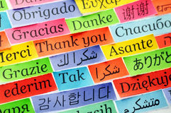 Thank You. Word Cloud printed on colorful  paper different languages ,accent on arabic Royalty Free Stock Image