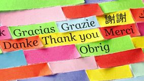 Thank you. Word cloud printed on colorful paper different languages video