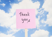 Thank you 5. Word Thank you on colorful note paper with blue sky background Royalty Free Stock Photos