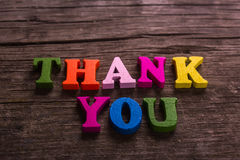 Thank you word made of wooden letters Stock Image