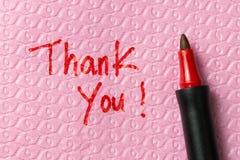 Thank you phase on napkin Royalty Free Stock Image