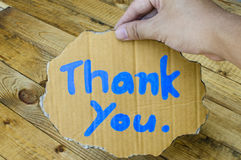 Thank you wording on cardboard Royalty Free Stock Photography