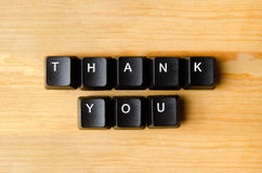 Thank you words. With keyboard buttons stock image