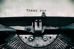 Thank you words typed on a vintage typewriter