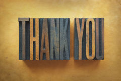 Thank you. The words THANK YOU written in vintage letterpress type Stock Images