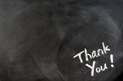 Thank you written on blackboard Royalty Free Stock Images