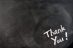 Thank you written on blackboard