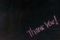 Thank you written on a blackboard Royalty Free Stock Photography