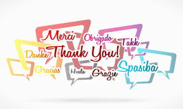 Thank you. Written in different languages over speech bubbles Royalty Free Stock Photography