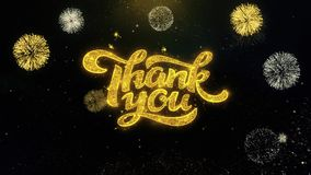 Thank You Written Gold Particles Exploding Fireworks Display. Thank You Written Gold Glitter Particles Spark Exploding Fireworks Display 4K stock footage