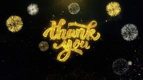 Thank You Written Gold Particles Exploding Fireworks Display. Thank You Written Gold Glitter Particles Spark Exploding Fireworks Display 4K stock video