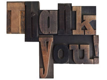 Thank you! written in letterpress type blocks Royalty Free Stock Images