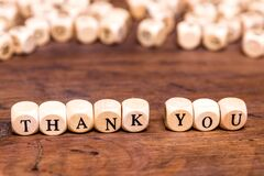 Thank you written in wooden cubes,thanks giving background