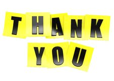 Thank you in yellow note Royalty Free Stock Photography