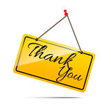 Thank you on yellow sign message symbol vector isolated on white Royalty Free Stock Photos