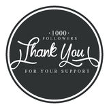 Thank you for your support round label, vector illustration. Badge, card, lettering, social media, calligraphy, sticker can be used for your design Stock Photography