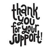 Thank you quotes and stickers. Thank you for your support - Unique slogan for social media, poster, card, banner, textile, gift, design element. Sketch royalty free illustration