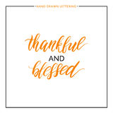 Thankful and blessed text. Isolated on white background, grunge hand painted letter, vector thanksgiving lettering for greeting card, poster, banner, print vector illustration