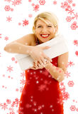 Thankful girl with snowflakes Stock Images