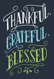 Thankful, grateful, blessed home decor sign. Thankful, grateful, blessed. Home decor hand-lettering sign. Thanksgiving day holiday poster royalty free illustration