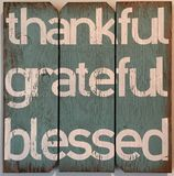 Thankful grateful blessed. Statement about life royalty free stock photography