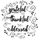 Thankful grateful blessed vector hand drawn card decorated floral ornament. Handwritten vector lettering phrase grateful thankful blessed decorated floral royalty free illustration