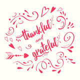 Thankful grateful  hand drawn card decorated floral ornament in pink Royalty Free Stock Photo