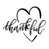 Thankful isolated lettering with heart symbol.