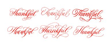 Thankful lettering set. Brush pen hand drawn calligraphy. Handwriting Inscription. Vector ink. Collection of thankful word. Stock Images