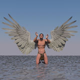 Thankful. A male angel  in a pose Stock Photos
