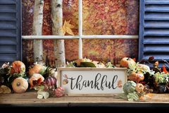 Thankful Sign on Old Wood Tabletop Stock Photos