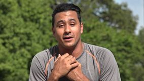 Thankful Talking Athletic Hispanic Adult Male. A handsome adult hispanic man stock video