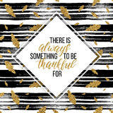 Thankful text on thanksgiving day, gold autumn seamless pattern. Happy Thanksgiving card, thankful text on thanksgiving day on gold autumn seamless pattern with Stock Photos