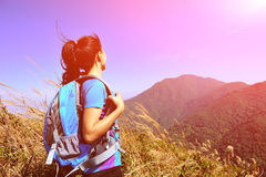 woman hiker looking at the view Royalty Free Stock Photography