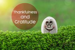 Thankfulness and gratitude. The text thankfulness and gratitude with stone smile happy face on green moss and sunshine light background royalty free stock photo