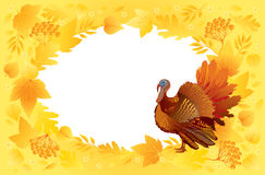 Thankgiving card with turkey. Thankgiving decorative card with turkey on a autumn yellow background Royalty Free Stock Images