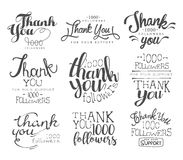 Thanking Cards For The Social Media Followers Set Stock Photo