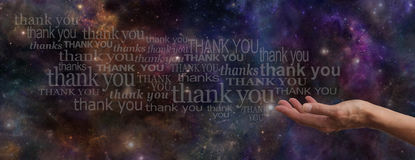 Thanking the Universe Website Banner Royalty Free Stock Photo