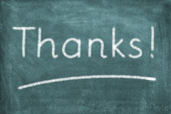 Thanks. A blackboard with lettering thanks Royalty Free Stock Image