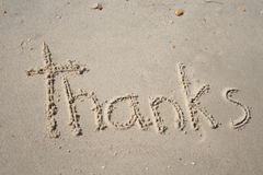 Thanks. In teh sand royalty free stock image