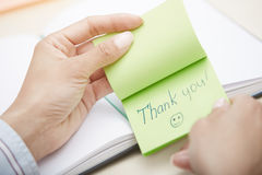 Thanks on adhesive note Stock Photo