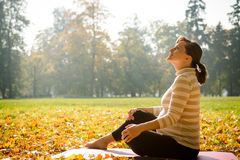 Thanks for baby. Happy pregnant woman looking to sky in autumn beautiful nature royalty free stock images